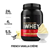 OPTIMUM NUTRITION GOLD STANDARD 100% Whey Protein Powder, French Vanilla Creme, 2 Pound (Packaging May Vary)