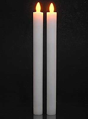 LED Flameless Flickering Taper Candles with Timer - Real Wax White Color with Yellow Flame - Set of 2 - 9.75 Inch High
