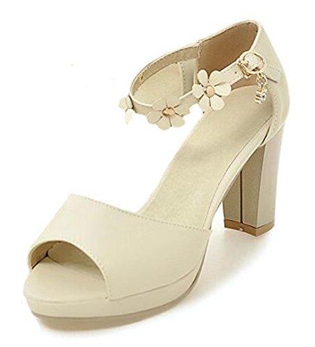 Easemax Mujeres Elegant Flowers Hebilla Correa Para El Tobillo Peep Toe Zapatos De Novia Chunky Tacón Alto Plataforma Sandalias Beige