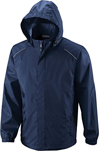 ZUZIFY Mens Seam-Sealed Waterproof Hooded Raincoat Rain Jacket. NF0561 XXXXX-Large Classic Navy Waterproof Storm Dog Jackets