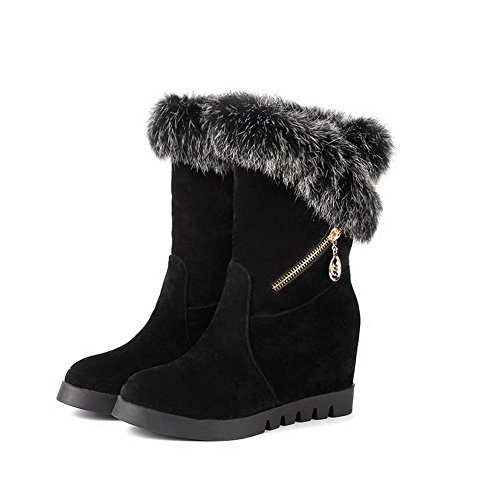 AmoonyFashion Womens Closed-Toe Round-Toe Kitten-Heels Boots With Fur-linedand Metal Black GcHMod
