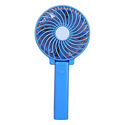AMTopshow Mini USB Rechargeable Fan Lithium Battery Operated Summer Air Cooling Fan Portable Personal Outdoor - Blue Little Fan
