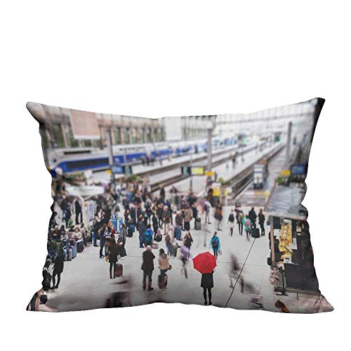 YouXianHome Home DecorCushion Covers Woman re Umbrella Wait at Train Station blurre peoplae Comfortable and Breathable(Double-Sided Printing) 12x16 inch