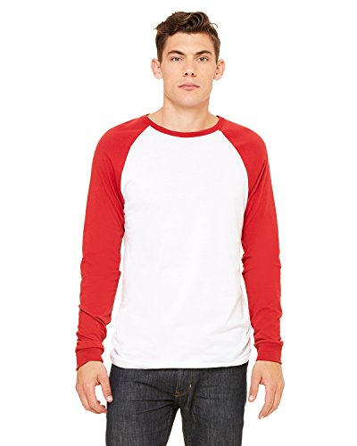 Bella + Canvas Men's Long-Sleeve Baseball T-Shirt, S, WHITE/CANVAS RED (T-shirt Bella Baseball)
