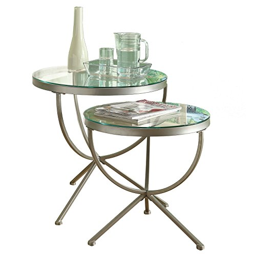 Monarch Round Satin Nesting Tables with Tempered Glass – 2 Piece Set