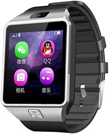 XZANTE Dz09 Reloj Inteligente Reloj de Pulsera Soporte con Cámara Bluetooth Tarjeta de Sim TF Reloj Inteligente para iOS Android Phones Plata