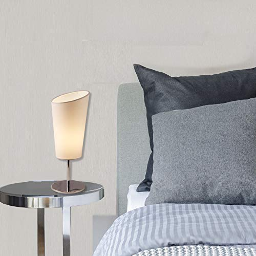 Light Accents Bedroom Side Table Modern Chrome Accent Lamp with White Shade Nightstand Lamps Small End Table Lamp (Set of 2) by LIGHTACCENTS (Image #4)