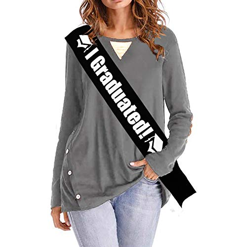 Blingbling I Graduated Sash - Black Satin with White Fonts - Commencement Ceremony, High School Graduation, College Graduate 2018 2019 Decorations Party -