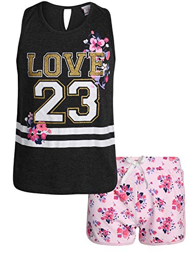 Real Love Girls' 2-Piece French Terry Short Set with Colorful Tops, Grey Love 24, Size -
