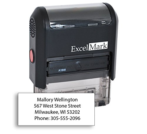 ExcelMark Custom Self Inking Rubber Stamp - Home or Office (A1848 - 4 Lines)