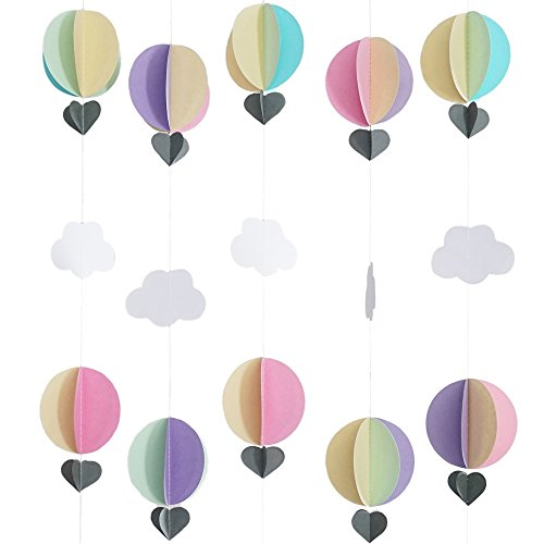 Hot Air Balloon Pastel 3D Paper Garland - Baby Room Nursery, Birthday & Baby Shower Decor (5 Strands, 5 Ft Per -