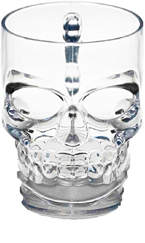 (Circleware 07099 Skull Face Beer Glass Mug with Handle, Heavy Base Funny Entertainment Glassware Drinking Cup for Water, Wine, Juice and Bar Liquor Dining Decor Beverage Novelty Gifts, 18 oz,)