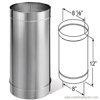 DuraVent 8DBK-12SS 8'' Inner Diameter - DuraBlack Stove Pipe - Single Wall - 12'', Stainless Steel