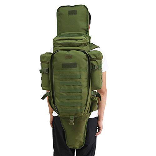 Tactical Backpack Military Molle Rucksack, MLSice Military Rifle Gun Storage Holder Bug Out Bag Molle Pack 60L Large Capacity Waterproof for Survival Trekking Hiking Fishing Rod Bag - Army Green