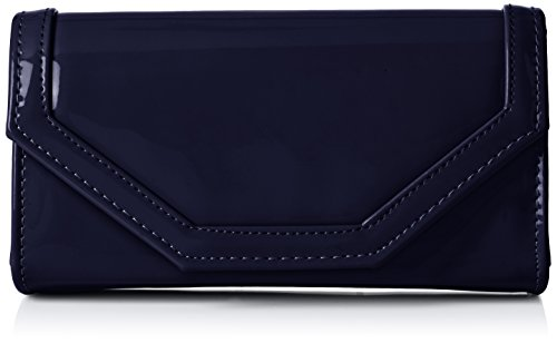 SwankySwans Womens Melania Patent Leather Envelope Clutch Bag Clutch Blue (Navy Blue)