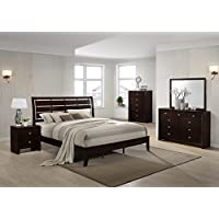 Gloria Brown Cherry Finish Wood Bed Room Set, Queen Bed, Dresser, Mirror, Night Stand, Chest