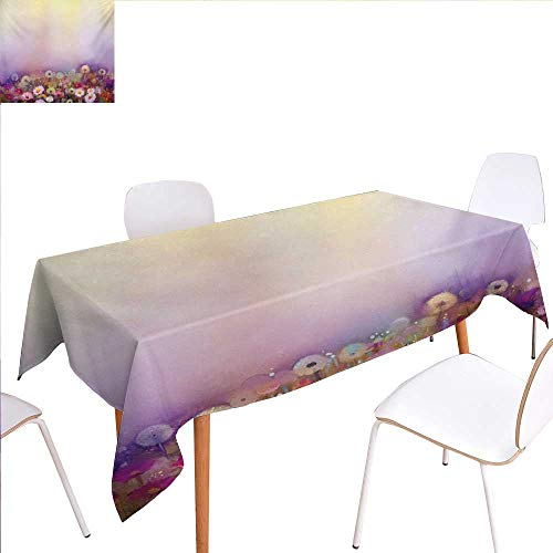 """familytaste Flower Customized Tablecloth Bed with Different Blossom Types Fresh Flowers Romantic Garden Hand Drawn Artwork Stain Resistant Wrinkle Tablecloth 60""""x90"""" Lilac Pink"""