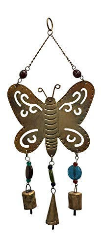 Rajasthan Cottage Decorative Brass Beaded Butterfly Bell Wall Home Garden Vintage Hanging Wind Chime
