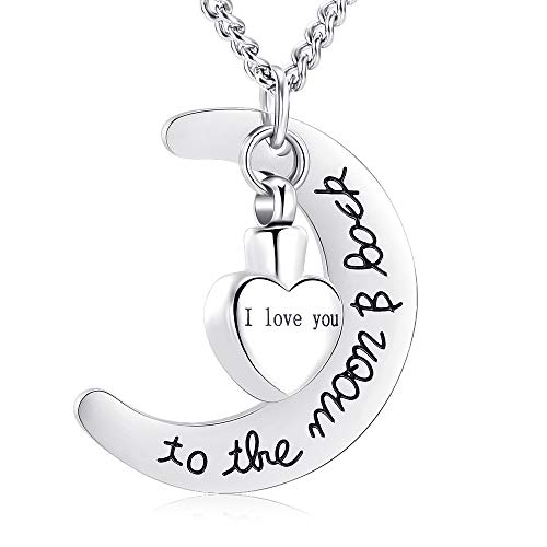 """""""I Love You To The Moon & Back""""Engraved Heart Cremation Urn Necklace Ashes Keepsake Pendant"""