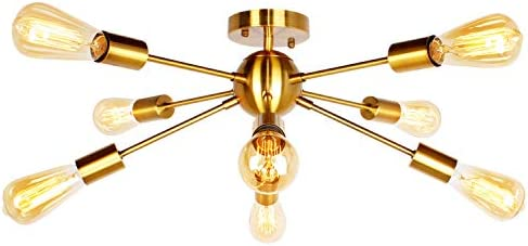 JHLBYL Sputnik Chandelier 8-Light Modern Chandelier Ceiling Light Fixture Classic Mid Century for Bedroom, Living Room, Dining Room, Foyers and Any Room-Golden Bronze