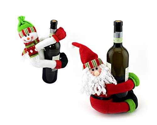 Bottle Party Wine (Adorox 2 Piece Christmas NYE Wine Bottle Cover Huggers Holder in Santa and Snowman for Home & Kitchen Holiday Party Table Decorations New Year's Eve Gift Party Supplies Wrapping Supplies Accessories)