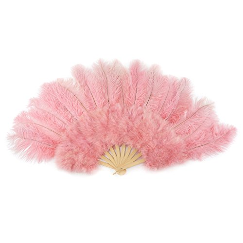 Large Ostrich Feather Hand Fan - Pink Flapper Folding Fan Dance Wedding Accessory