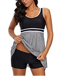 2 Piece Plus Size Bathing Suit for Women Tankini Top and Shorts Swimsuits Scoop Back