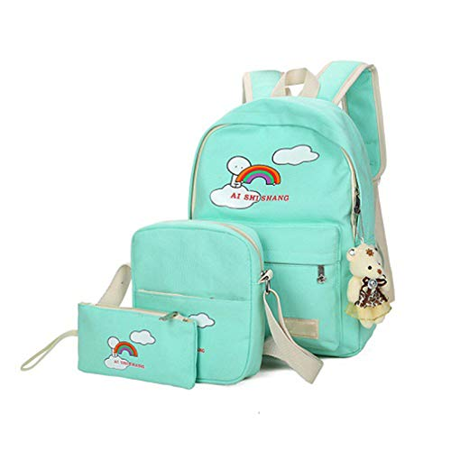 Pink Rose Sets Cartoon Printing School Girls Backpacks Backpack Green H38cm Bear 3Pcs L29cm W12cm ASqzwz