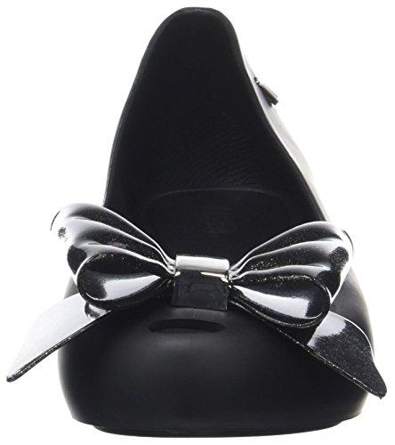 Melissa Damen Ultragirl Sweet Bow 19 Peep-Toe Black (Black Glitter)
