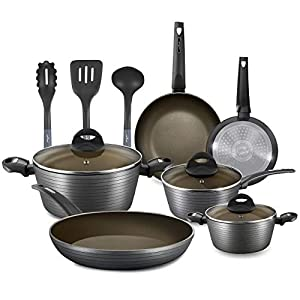 NutriChef 12-Piece Nonstick Kitchen Cookware Set - Professional Hard Anodized Home Kitchen Ware Pots and Pan Set… 9
