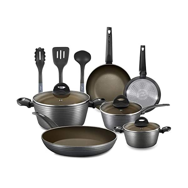 NutriChef 12-Piece Nonstick Kitchen Cookware Set - Professional Hard Anodized Home Kitchen Ware Pots and Pan Set… 1