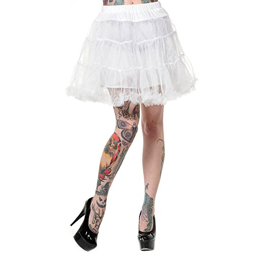 [Banned Women's Flare Short Petticoat - Large, White] (Swing Jive Costumes)
