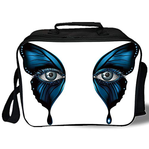 (Insulated Lunch Bag,Eye,Realistic Female Eye on Magical Butterfly Wings Artistic Makeup Mask Masquerade Decorative,Blue Black White,for Work/School/Picnic,)