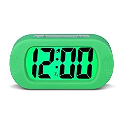 Large Digital Display Alarm Clock and Snooze Night Light(Green Backlight) Travel Alarm Clock and Home Bedside Alarm Clock Battery operated Shockproof HA30 (Green)