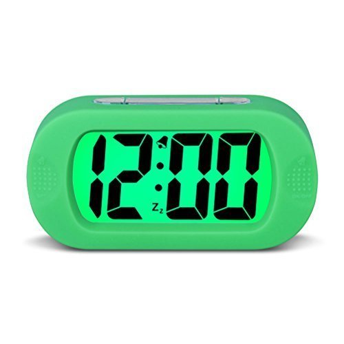 HENSE Large Digital Display Alarm Clock and Snooze/ Night Light(Green Backlight) Travel Alarm Clock and Home Bedside Alarm Clock HA30 (Green)