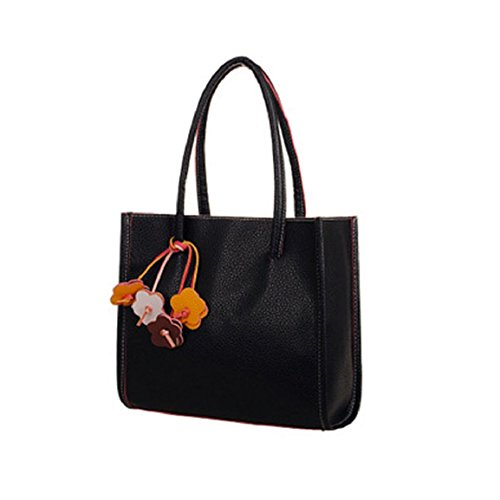 Girls Tote PU Culater®Fashion Black Flowers Black Color Women Bag Candy Handbags Leather Elegant Shoulder 5qqafR