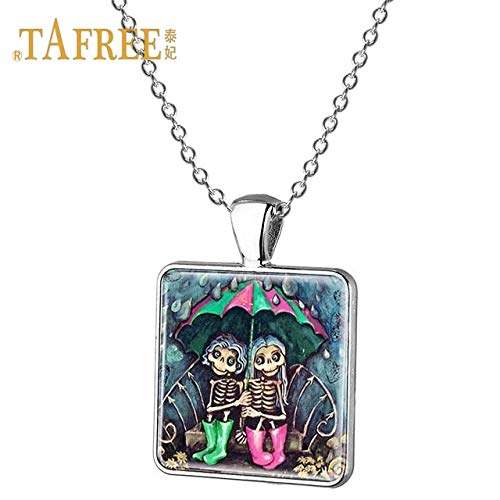 Davitu TAFREE Charming Girl Best Friend Forever Pendant Square Necklaces Friendship Jewelry Birthday Gift for Friends Jewelry ST82 - (Metal Color: ST81, Length: 55cm)