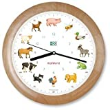 KOOKOO KidsWorld Wood Wall Clock with Animal Sounds Farm Animal Clock with 12 Animal Calls with Light Sensor