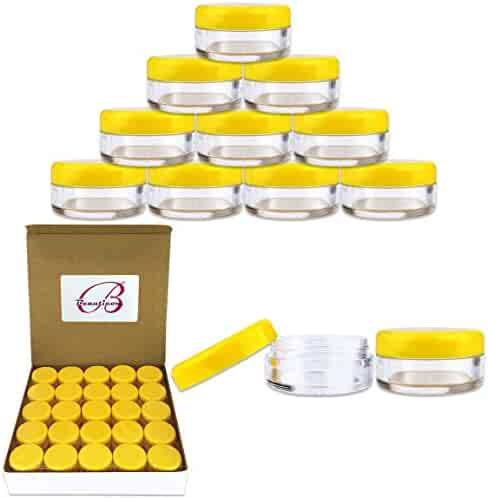 (Quantity: 50 Pieces) Beauticom 5G/5ML Round Clear Jars with YELLOW Lids for Scrubs, Oils, Toner, Salves, Creams, Lotions, Makeup Samples, Lip Balms - BPA Free