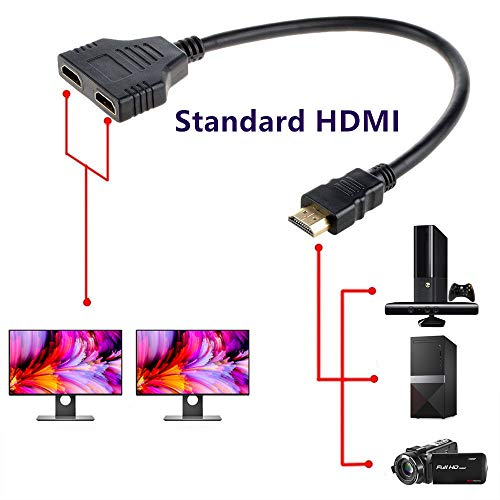 (HDMI to Dual HDMI Kingm, HDMI Male to Dual HDMI Female 1 to 2 Way Splitter Cable Adapter Converter One Input to Two Outputs 1080P)