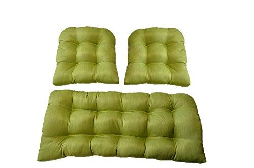 3 Piece Wicker Cushion Set - Indoor / Outdoor Woven Twill...