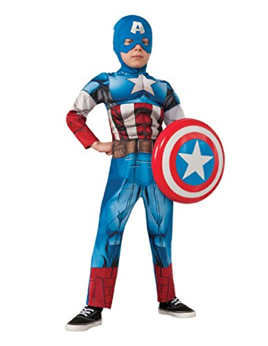 Marvel Avengers Assemble Captain America Deluxe Muscle-Chest Costume, Small (America Deluxe Pirate Captain Costume)