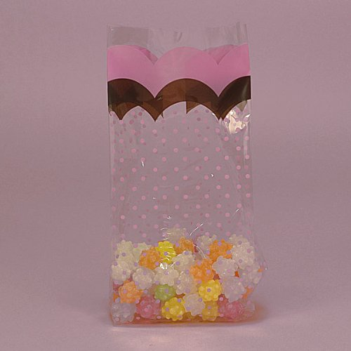 Pink and Brown Flounce Party Bags - Pack of -