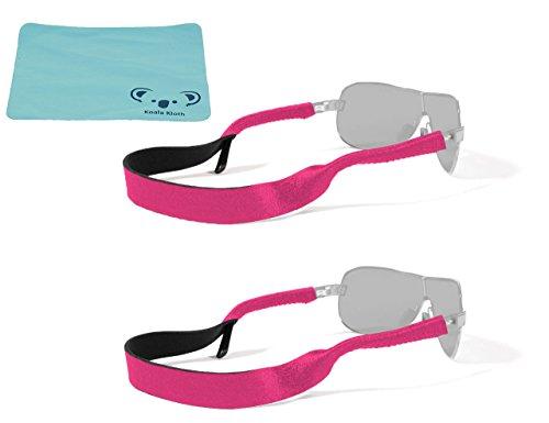 Croakies Original Neoprene Eyewear Retainer Sunglass Strap Band | Eyeglass & Sports Glasses Holder Keeper Lanyard | 2pk Bundle + Cloth, - Eyeglasses Original