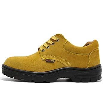 Jincosua Zapatos de Seguridad antiperforantes para Hombres Zapatos de Soldador Ligeros Transpirables para el Trabajo (Color : Amarillo, tamaño : EU 44): ...