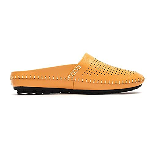 79affaa8281e 60%OFF VanPro Men Open Back Slippers Summer Casual Shoes Peas Shoes Leather  Head Soft