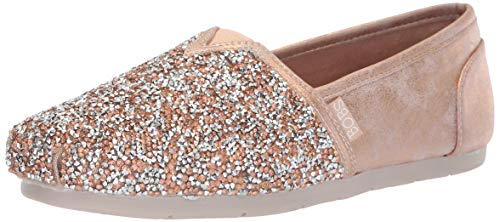 Image of Skechers BOBS Women's Luxe Bobs-Chunky Rhinestone Slip on w Memory Foam Ballet Flat, Rose Gold, 8 M US