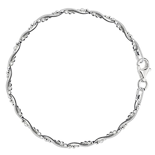 Braided Bead And Snake Style Chain Anklet In Sterling Silver, 9