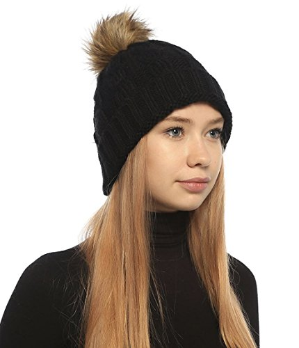 SOFT GRIP Women Cable Knit Slouchy Thick Winter Hat Beanie Pom Pom 1, 2 and 3 Pack (Black) ()