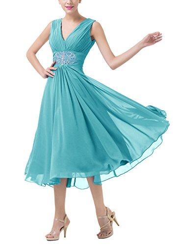 Neck V Ankle Turquoise Ruffles Double Dobelove Dress Evening Chiffon Women's Length tqCHwffE